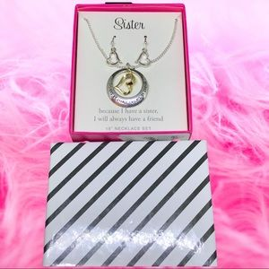"""""""Sister"""" necklace with heart earrings gift box set"""